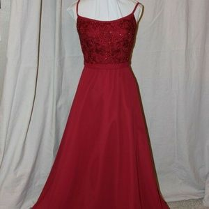 MORI LEE CLARET RED CHIFFON BEADED FORMAL GOWN 12